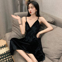 Dress Spring 2021 black Average size Mid length dress singleton  Sleeveless commute V-neck High waist Solid color zipper Big swing camisole 25-29 years old Type A Korean version zipper