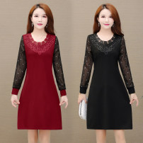 Dress Autumn 2020 Black, red, caramel XL,2XL,3XL,4XL,5XL Mid length dress singleton  Long sleeves commute Crew neck High waist Solid color routine Others 40-49 years old Type H Other / other 81% (inclusive) - 90% (inclusive)