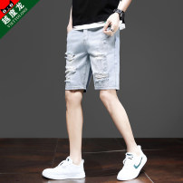 Jeans Youth fashion Viettolons S M L XL XXL L54 blue L52 blue L53 blue L60 black routine Micro bomb L54#1 Shorts (up to knee) Cotton 68.7% polyester 18% viscose 13.3% summer teenagers Medium low back Slim feet tide 2020 Pencil pants zipper washing Summer 2020 cotton Pure e-commerce (online only)