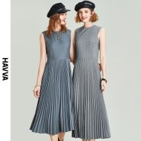Dress Spring 2021 grey S M L XL longuette singleton  Sleeveless street Crew neck middle-waisted Solid color zipper Pleated skirt other 30-34 years old HAVVA 81% (inclusive) - 90% (inclusive) polyester fiber Same model in shopping mall (sold online and offline) Europe and America