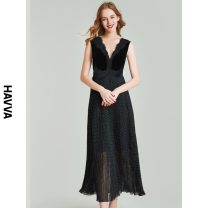Dress Spring 2021 black XS S M L longuette singleton  Sleeveless street V-neck middle-waisted Socket Pleated skirt routine Others 30-34 years old HAVVA Q5596 More than 95% polyester fiber Polyester 100% Same model in shopping mall (sold online and offline) Europe and America