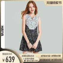 Dress Summer 2021 black XS S M L Short skirt Sleeveless street V-neck High waist other zipper A-line skirt other Others 30-34 years old Type A HAVVA Patchwork lace Q5585 31% (inclusive) - 50% (inclusive) nylon Polyamide fiber (nylon) 38.8% cotton 32.4% viscose fiber (viscose) 28.8% Europe and America