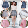 skirt Summer of 2018 XS S M L XL XXL Solid color black solid color white solid color gray solid color pink solid color Navy lattice gray lattice light gray lattice Navy lattice yellow lattice Pink Short skirt Versatile High waist Pleated skirt Solid color Type A 18-24 years old Pleated skirt other