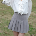 skirt Summer 2021 S M L Black light grey Short skirt commute High waist Pleated skirt Solid color Type A 18-24 years old MT0927 More than 95% Wool Moxa rabbit polyester fiber fold Polyester 100% Pure e-commerce (online only)