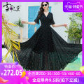 Dress Summer 2020 Black strawberry S M L XL XXL XXXL longuette singleton  Short sleeve commute V-neck middle-waisted Decor Socket Big swing other Others 30-34 years old Type A Snow Princess Simplicity Ruffle print LYQ-19402 More than 95% Chiffon polyester fiber Polyester 98% other 2%
