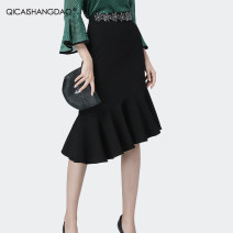 skirt Summer 2020 S M L XL 2XL 3XL 4XL black Mid length dress commute Natural waist skirt Solid color Type O 35-39 years old BC11035 71% (inclusive) - 80% (inclusive) Colorful Shangdao polyester fiber Auricularia auricula with lotus leaf Ol style