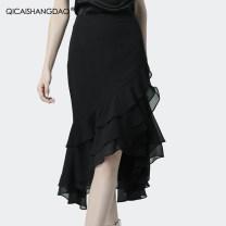 skirt Summer 2021 S M L XL 2XL 3XL 4XL Black green purple Mid length dress Versatile Natural waist Irregular Solid color BM2609-2 More than 95% Colorful Shangdao polyester fiber Polyester 100% Pure e-commerce (online only)