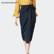 skirt Summer of 2019 S M L XL XXL XXXL XXXXL blue Mid length dress commute Natural waist skirt 30-34 years old BV6208 51% (inclusive) - 70% (inclusive) Colorful Shangdao cotton Asymmetric tucking Ol style Cotton 55% polyester 45%