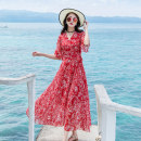 Dress Summer of 2018 Red yellow green blue purple S M L XL XXL longuette singleton  elbow sleeve Sweet V-neck middle-waisted Decor Socket Big swing Lotus leaf sleeve Others 25-29 years old Type A Minomica S062 More than 95% Chiffon polyester fiber Polyester 100% Bohemia Pure e-commerce (online only)