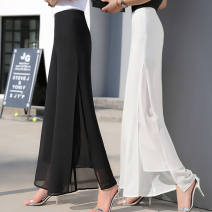 Casual pants Summer 2021 trousers Wide leg pants High waist Versatile Thin money 30-34 years old 96% and above polyester fiber polyester fiber