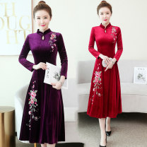 Dress Winter of 2018 Purple red blue M L XL XXL 3XL Mid length dress singleton  Long sleeves commute stand collar middle-waisted Big flower Socket A-line skirt routine Others 40-49 years old Type A A thousand and a hundred ladies Retro Embroidery GX512 More than 95% other polyester fiber