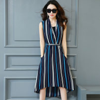 Dress Summer 2017 Black blue yellow M L XL 2XL Mid length dress singleton  Sleeveless street V-neck middle-waisted stripe Socket Big swing other Others 30-34 years old Type A Anilian Splicing JQYR1882 More than 95% other polyester fiber Polyester 100% Pure e-commerce (online only) Europe and America