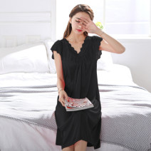 Nightdress Pretty and elegant S M L XL XXL XXXL sexy Sleeveless pajamas Middle-skirt summer Solid color youth V-neck Iced silk lace More than 95% 1302 black Summer 2017 Polyester 100%