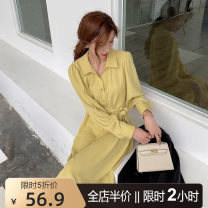 Women's large Autumn 2020 Yellow [New Year's dress / luxury Ladies / slim waist / bottom lining / deep fried street / spring 2021 / French retro dress Hepburn] Dress singleton  Sweet easy thickening Socket Long sleeves Solid color square neck puff sleeve 9-29AC286 cenzcci 18-24 years old solar system