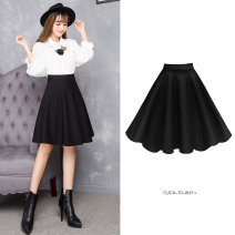 skirt Autumn 2020 Middle-skirt commute High waist A-line skirt Solid color Type A 25-29 years old 511# 91% (inclusive) - 95% (inclusive) brocade nylon Korean version