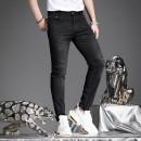 Jeans Fashion City Yan Ji 28 29 30 31 32 33 34 35 36 black Thin money Micro bomb Thin denim YJQH8029 trousers Cotton 61.1% polyester 26% viscose (viscose) 11.1% polyurethane elastic (spandex) 1.8% summer youth Medium low back Slim feet tide 2021 Little straight foot zipper Snow wash printing cotton