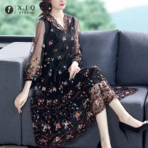 Dress Spring 2021 Black Pink M L XL 2XL 3XL 4XL 5XL longuette singleton  Long sleeves commute V-neck Loose waist Decor Socket A-line skirt routine 30-34 years old Type A Xianjiaoqian Retro printing 9542-1 More than 95% other Other 100% Pure e-commerce (online only)