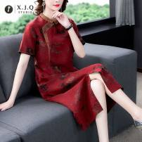 Dress Spring 2021 gules L XL 2XL 3XL 4XL Mid length dress singleton  Short sleeve commute Decor 35-39 years old Xianjiaoqian Retro 1851-1 More than 95% other Other 100% Pure e-commerce (online only)