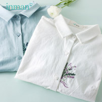 shirt S M L XL Spring 2021 cotton 96% and above Long sleeves commute Regular stand collar Single row multi button routine other 25-29 years old Straight cylinder Inman / Inman Simplicity Embroidery Cotton 100% Same model in shopping mall (sold online and offline)