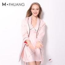 Nightgown / bathrobe Beautiful Phoenix female S M L XL Thin money sexy Polyester (polyester) autumn More than 95% Short (Mid Thigh to knee) Seldingham Solid color youth Mosaic decoration 200g and below Summer 2017 Polyester 100% Pure e-commerce (online only)