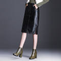 Dress Spring 2020 Middle-skirt High waist Solid color One pace skirt PU