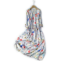 Dress Summer 2021 Light blue birds and flowers Long 108 chest 104 sleeve 36 swing 164 Mid length dress elbow sleeve Crew neck Loose waist Big swing routine More than 95% Silk and satin silk