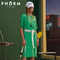 Dress Summer 2020 Fluorescent green ink black M S L Mid length dress singleton  Short sleeve street Crew neck middle-waisted Solid color Socket other routine 25-29 years old PHORM Q09722026 31% (inclusive) - 50% (inclusive) nylon Same model in shopping mall (sold online and offline) Sports & Leisure