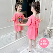 Dress Rose powder purple white green collection purchase priority delivery female Heinimu 110cm 120cm 130cm 140cm 150cm 160cm Cotton 100% summer Korean version Short sleeve Solid color Pure cotton (100% cotton content) A-line skirt QZ0287 Class B Summer 2020 Chinese Mainland