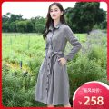 Dress Winter 2020 S M L XL Mid length dress singleton  Long sleeves Sweet tailored collar High waist Solid color Single breasted A-line skirt routine Others 25-29 years old Type A Sinor Bow pocket strap button More than 95% Light tweed polyester fiber Polyester 100% Mori