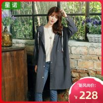 Windbreaker Winter of 2019 Average size Retro matte grey Long sleeves routine Medium length commute Single breasted Hood shirt sleeve Solid color Self cultivation literature Sinor S7010123A 18-24 years old Bowknot 3D resin fixation 96% and above cotton Cotton 100%