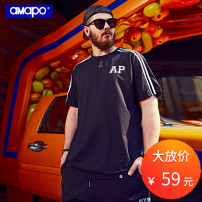 T-shirt Youth fashion black routine 6XL AMAPO A172TD104 Cotton 93.2% polyurethane elastic fiber (spandex) 6.8% Summer 2017