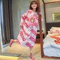 Nightdress Han Ziduo 1139 3 4 5 1 S M L XL XXL Cartoon Long sleeves Leisure home longuette spring Cartoon animation youth Crew neck cotton printing More than 95% pure cotton 220g Spring 2021 Cotton 100% Pure e-commerce (online only) Cotton 100%