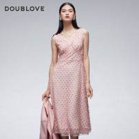 Dress Winter 2020 Pink 1/XS 2/S 3/M 4/L 5/XL Mid length dress singleton  Sleeveless Sweet V-neck High waist Solid color other other other Others 25-29 years old Type X DOUBLE LOVE Lace DPGPA4307A More than 95% Lace nylon Polyamide fiber (nylon) 100% Ruili