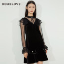 Dress Winter 2020 black 1/XS 2/S 3/M 4/L 5/XL Middle-skirt singleton  Long sleeves Sweet stand collar middle-waisted Solid color other Princess sleeve Others 25-29 years old Type X DOUBLE LOVE Lace up stitching bead lace DFGPA4209A More than 95% other Other 100% Ruili