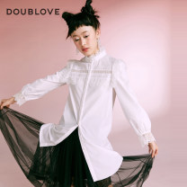 Dress Winter 2020 white 2/S 3/M 4/L 5/XL Middle-skirt singleton  Long sleeves Sweet stand collar Loose waist Solid color Single breasted other bishop sleeve Others 25-29 years old Type H DOUBLE LOVE Patchwork lace 51% (inclusive) - 70% (inclusive) cotton Cotton 51.5% polyester 48.5% Ruili