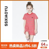Dress White background red stripe white background blue stripe white background black stripe female S · s · Xiao Yu / Fashion fish Cotton 95% polyurethane elastic fiber (spandex) 5% summer princess Short sleeve stripe Cotton blended fabric Lotus leaf edge KT182236010 Class B Autumn 2020