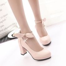 Low top shoes 35,36,37,38,39 Other / other Pink, off white, black Round head PU Thick heel High heel (5-8cm) Shallow mouth PU Spring of 2018 Flat buckle Sweet Adhesive shoes Youth (18-40 years old) Solid color rubber Mary Jane shoes Buckles, bows, rhinestones, tarpaulins, ankle straps PU