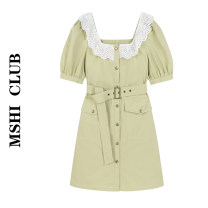 Dress Summer 2021 Light green S,M,L Short skirt singleton  Short sleeve commute square neck High waist Solid color Single breasted A-line skirt puff sleeve Others Type A Korean version 30% and below other other