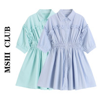 Dress Summer 2021 Light blue, light green S,M,L Short skirt singleton  Short sleeve commute Polo collar High waist Solid color Single breasted Irregular skirt puff sleeve Others Type A Korean version Button, fungus, fold 30% and below other other