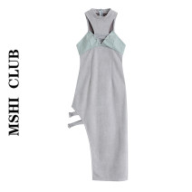 Dress Summer 2021 Grey green S,M,L Mid length dress singleton  Sleeveless commute High waist other zipper Irregular skirt Hanging neck style Type A Retro Splicing, bandage 30% and below other other