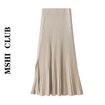 skirt Autumn 2020 Average size Mid length dress Versatile High waist Pleated skirt Solid color Type A 30% and below