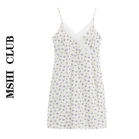 Dress Summer 2021 white S, M Short skirt singleton  Sleeveless commute V-neck High waist Broken flowers Socket A-line skirt other camisole Type A Retro Lace 30% and below other other