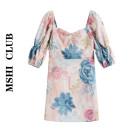 Dress Summer 2020 Petals pink S,M,L Short skirt singleton  elbow sleeve commute other Decor A-line skirt puff sleeve Others Type A lady Fold, print polyester fiber
