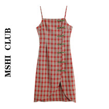 Dress Summer 2020 S,M,L Mid length dress singleton  Sleeveless commute High waist lattice Single breasted A-line skirt other camisole Type A Retro Button 30% and below polyester fiber