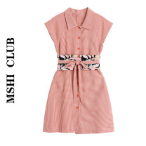 Dress Summer 2021 gules S,M,L,XL Middle-skirt Two piece set Short sleeve commute High waist lattice Socket A-line skirt routine Others Type A Retro Bandage 30% and below other other