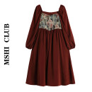 Dress Spring 2021 Retro Red S,M,L Mid length dress singleton  Long sleeves commute square neck High waist Decor zipper A-line skirt puff sleeve Type A Retro 30% and below other other