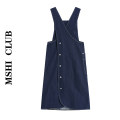 Dress Summer 2021 navy blue S,M,L Mid length dress singleton  Sleeveless commute V-neck Loose waist Solid color Socket A-line skirt other straps Type H Retro 30% and below other other