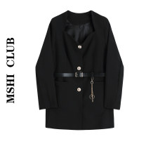 Dress Autumn 2020 Black [with belt] S,M,L Short skirt singleton  Long sleeves commute square neck High waist Solid color A-line skirt routine Others Type A 30% and below