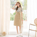 skirt Summer 2021 S,M,L,XL,2L,3L Powder, Khaki Mid length dress fresh High waist Strapless skirt Solid color Type A 18-24 years old DA6399 More than 95% Orange bear cotton pocket