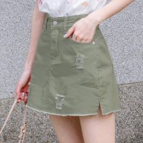 skirt Summer 2020 S,M,L,XL,2L,3L,4L Black, apricot, grey green, mustard yellow Short skirt A-line skirt 18-24 years old CA1900 Orange bear